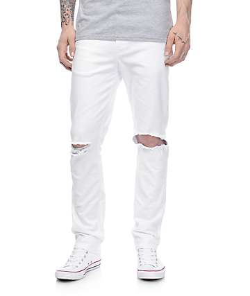 Rustic Dime White Knee Blowout Taper Fit Jeans