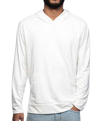 Rustic Dime White Suede Hooded Long Sleeve T-Shirt
