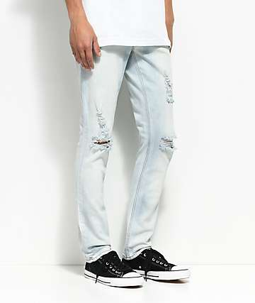 Rustic Dime White Wash Ripped Jeans