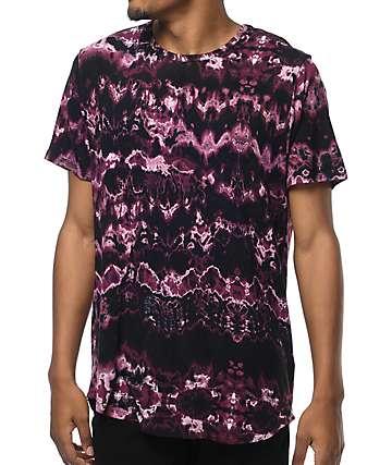 Rustic Dime camiseta con efecto tie dye en color vino