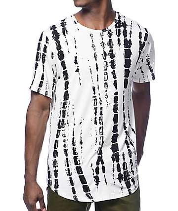 Rustic Dime camiseta larga blanca teñida anudado