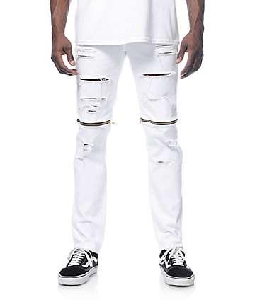Rustic Dime jeans blancos cremallera en las rodillas