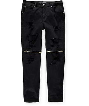 Rustic Dime jeans negro con rodillas con cremalleras