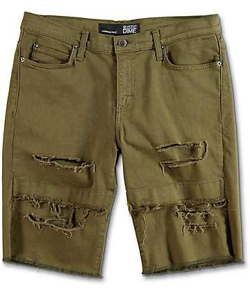 Rustic Dime shorts rotos en verde olivo