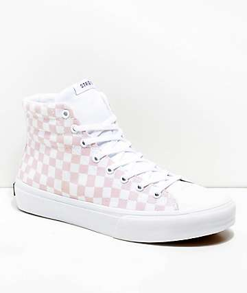 STRAYE Venice Pink Warped Check Skate Shoes
