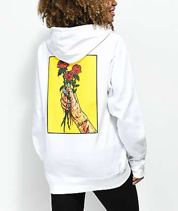 Salem7 Roses sudadera blanca con capucha