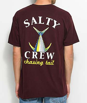 Salty Crew Chasing Tail Burgundy T-Shirt