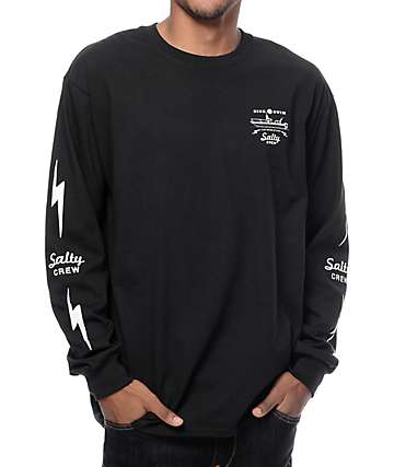 Salty Crew Dash Long Sleeve Black T-Shirt
