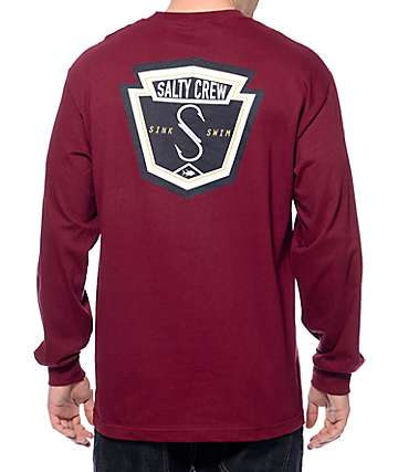 Salty Crew Fly Bridge Burgundy Long Sleeve T-Shirt