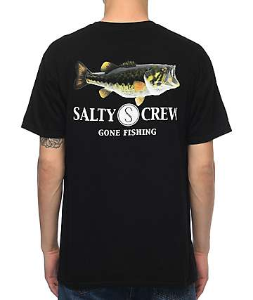 Salty Crew Green Bass Black T-Shirt