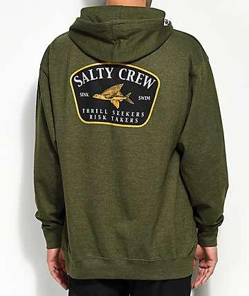 Salty Crew Leeward Heather Army Hoodie
