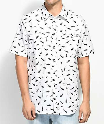Salty Crew Popper Fish Print White Button Up Shirt