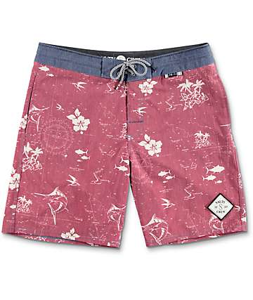 Salty Crew Seaboard Deck Short Burgundy Board Shorts