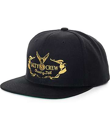Salty Crew Tail High Black Snapback Hat
