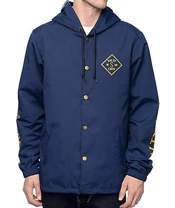 Salty Crew Tippet Hooded Navy Coaches Jacket