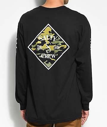 Salty Crew Tippet camiseta negra y camuflada de manga larga