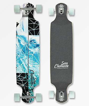 "San Clemente Broken Glass 39"" Drop Through Longboard Complete"