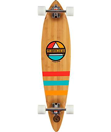 "San Clemente Classic Pyramid Bamboo 37.5""  Pintail Longboard Complete"