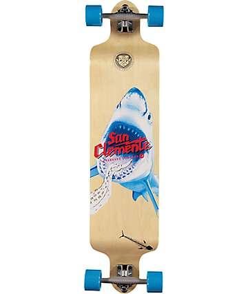 "San Clemente Shark Racer 41.25"" drop down longboard completo"