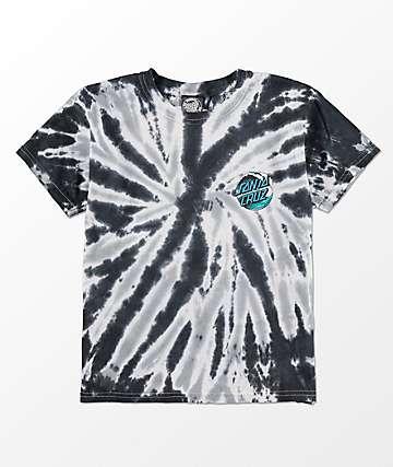 Santa Cruz Boys Wave Dot Black Twist Tie Dye T-Shirt