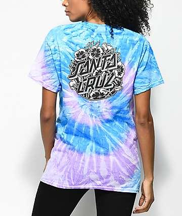 Santa Cruz Cali Poppy camiseta azul con efecto tie dye