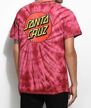 Santa Cruz Classic Dot camiseta roja con efecto tie dye