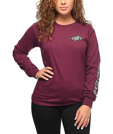Santa Cruz Contest Burgundy Long Sleeve T-Shirt