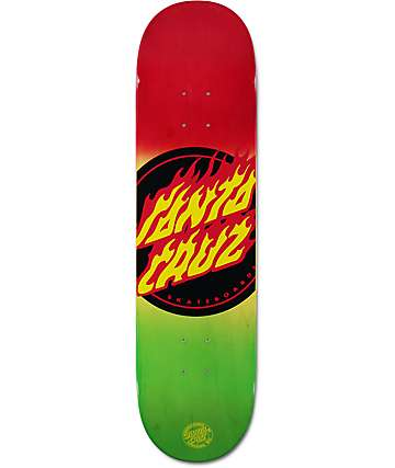 "Santa Cruz Flame Dot Rasta 8.0"" Skateboard Deck"
