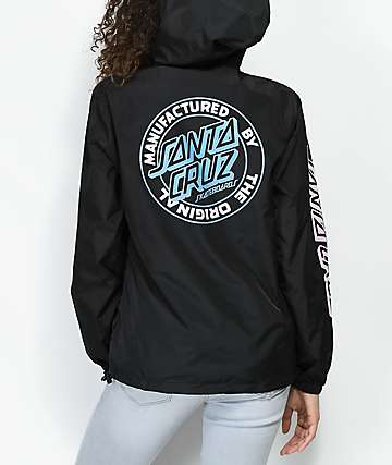 Santa Cruz Original Dot Black Anorak Windbreaker Jacket
