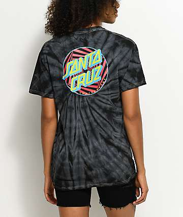 Santa Cruz Party Dot Spider camiseta con efecto tie dye en negro