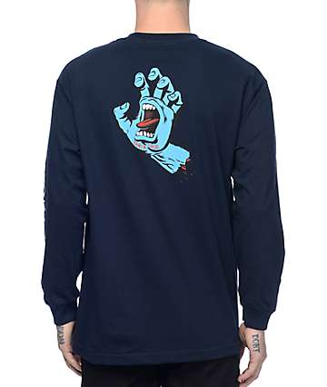 Santa Cruz Screaming Hand Navy Long Sleeve T-Shirt