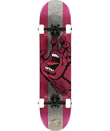 "Santa Cruz Screaming Hand Red & Black 7.5"" Skateboard Complete"
