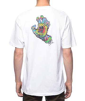 Santa Cruz Screaming Tie Dye Hand White T-Shirt