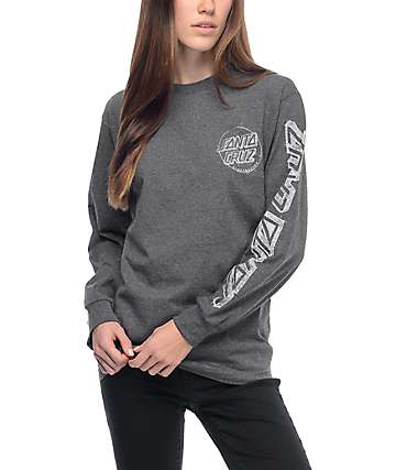 Santa Cruz Sketchy Dot Heather Grey Long Sleeve T-Shirt