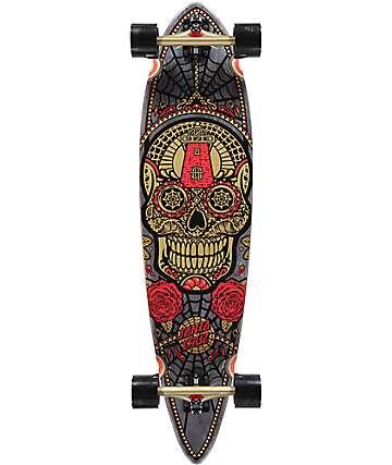 """Santa Cruz Sugar Skull 39"""" Gold Pintail Longboard Complete"""
