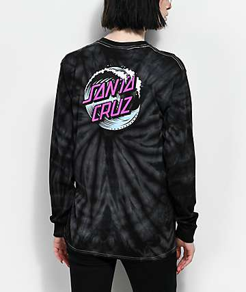 Santa Cruz Wave Dot Spider Black Tie Dye Long Sleeve T-Shirt