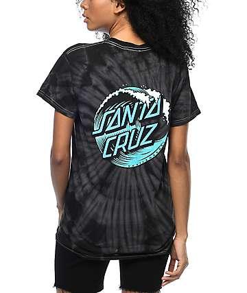 Santa Cruz Wave Dot camiseta negra con efecto tie dye