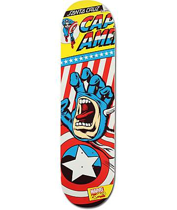 "Santa Cruz x Marvel Captain America Hand 8.26"" Skateboard Deck"