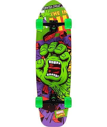 "Santa Cruz x Marvel Hulk Hand 27.7"" Cruiser Complete Skateboard"