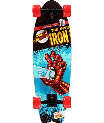 "Santa Cruz x Marvel Iron Man Hand Shark 27.7""  Cruiser Complete Skateboard"