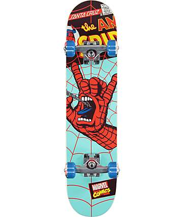 "Santa Cruz x Marvel Spiderman Hand Micro 6.75"" Skateboard Complete"