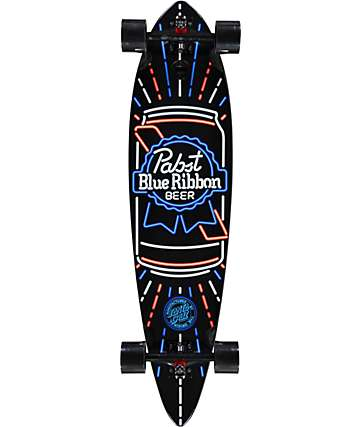 "Santa Cruz x PBR Neon 39"" Pintail Longboard Complete"