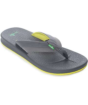Sanuk Brumeister Charcoal & Yellow Sandals