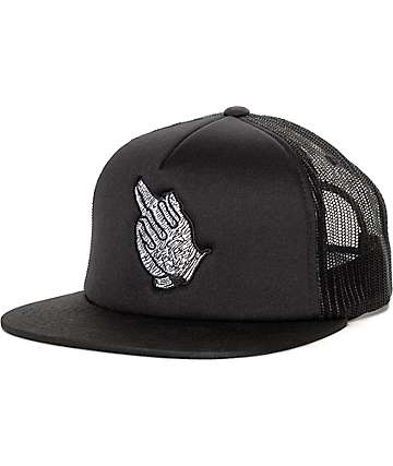 Sausage Praying Finger Black Trucker Hat