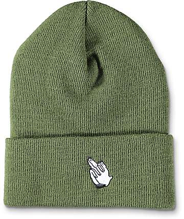 Sausage Praying Finger Olive Cuff Beanie