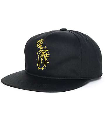 Sausage Rose Hand Black Unstructured Snapback Hat