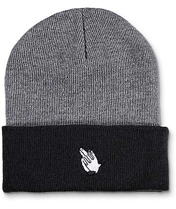 Sausage Skateboards Praying Finger Black & Grey Fold Beanie