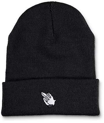 Sausage Skateboards Praying Finger Black Fold Beanie