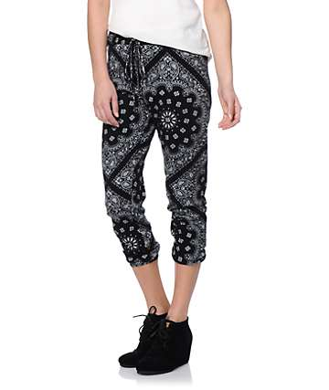 See You Monday Black Bandana Print Jogger Pants