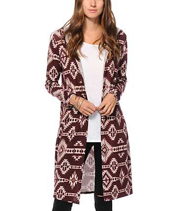 See You Monday Blackberry Tribal Hooded Kimono